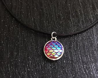 Mermaid choker, mermaid necklace, mermaid scales, mythical necklace, black leather choker, adjustable necklace, fantasy choker
