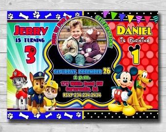 Sibling Invitation-Sibling Invite-Twins Invitation-Double Invitation-Paw Patrol invitation-MICKEY MOUSE invitation-Sibling birthday-digital
