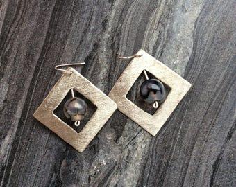 Silver rombus earrings, square earrings, earrings with chalcedony