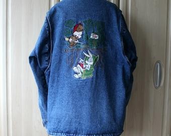 Vintage Denim Warner Bros Jacket Bugs Bunny and Elmer Fudd Size LARGE DM1