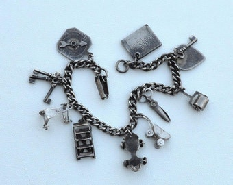 Early Vintage 1940's STERLING SILVER Charm Bracelet, Early Mechanical Charms