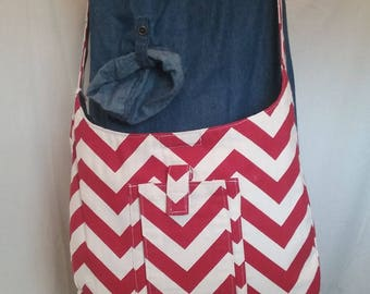 Red & White Cross-body Purse