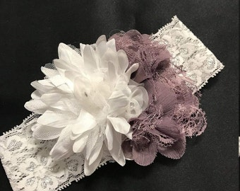 Mauve and white flower headband for baby/infant/preemie. White and Mauve flowers on white/silver lace headband