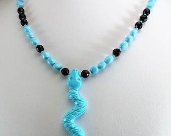Necklace turquoise, Turquoise, Snake, Contemporany Jewelery, Glamour Necklace