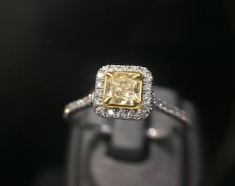 New 0.43 ct Princess Radiant Cut Yellow Diamond Ring, 14k White Gold