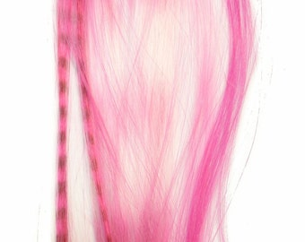 Prebonded I-Tip Extensions/Synthetic Hair Feathers, Raspberry Sorbet