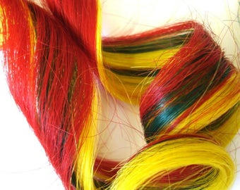 """Set of TWO 16"""" Clip-In Human Hair Streaks, Red, Green, and Yellow Layered"""