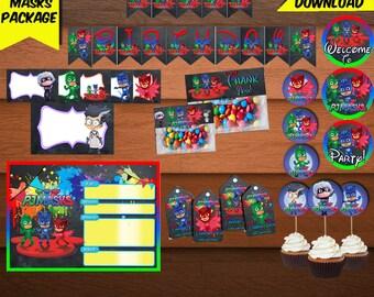PJ Masks Package-Birthday Package-Printables Pj Mask Package-Pj Mask Kit-Digital Pj Mask Package-Pj Mask Party Decoration-DIGITAL DOWNLOAD