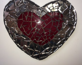 "Mosaic 'Reflect Red"" Mirrored Heart  Wall Art"