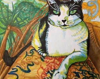 Cat Print, Hawaii Cat Print, Cat Portrait, Cat Drawing, Colorful Cat Drawing.