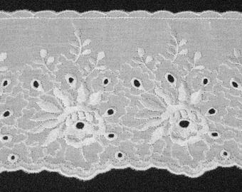 Sangallo lace white-10 cm height-sold by meter