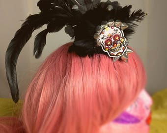 Gothic Feathered Fascinator