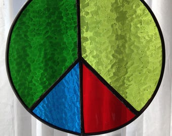 """Stained Glass Peace Sign-8"""""""