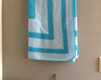Square blue baby blanket