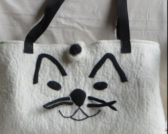 cat bag in black and white
