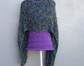 Knit summer scarf in green and violet