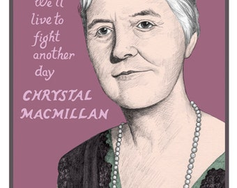 Chrystal Macmillan: Signed Giclee print of a digitally coloured graphite portrait.