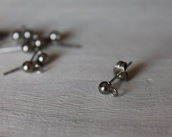 Stainless Steel Ball Stud Earrings Posts. Jewelery Making Supply.