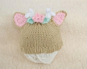 Newborn Baby Deer Hat Photography Prop, Newborn Gift