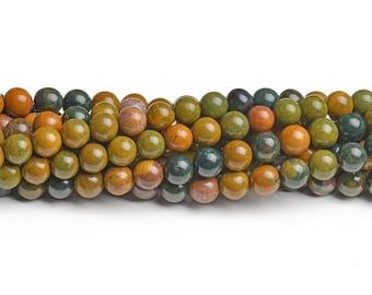 8mm Ocean jasper beads round ocean jasper 8mm round gem smooth ocean jasper full strand jasper colorful jasper smooth gemstones ocean beads