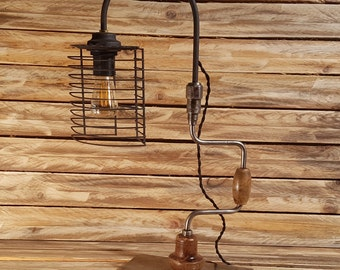 Old drill lamp with LED Edison bulb - lighting, vintage, lights, industrial, steampunk, unique, recycling, loft, upcycling