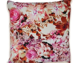 Capulet Orange Rose Floral Print Cushion