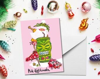 Tropical Santa Greeting Card, Greeting Card, Personalized Greeting, Handmade Greeting, Santa, Christmas, Hawaii, Tiki, Mele Kalikimaka