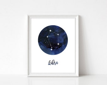 Libra Print, Libra Home Decor, Libra Constellation, Libra Wall Decor, Libra Wall Art, Zodiac Print, Libra Stars, Zodiac Constellation