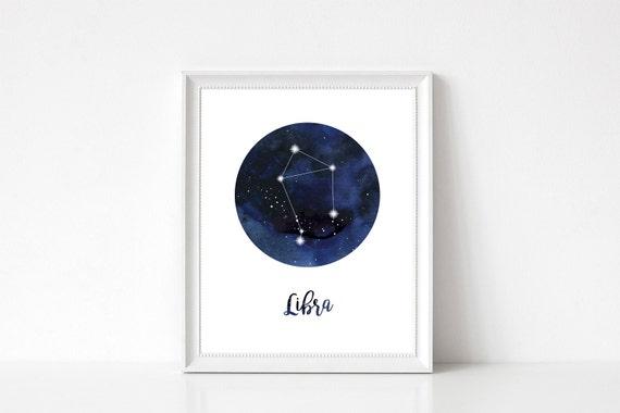 Libra Print Libra Home Decor Libra Constellation Libra Wall