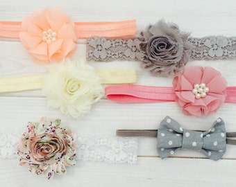 Baby Head Bands, Baby Headbands and bows, baby girl headband, infant headbands, baby flower headbands, baby headband set, newborn headband