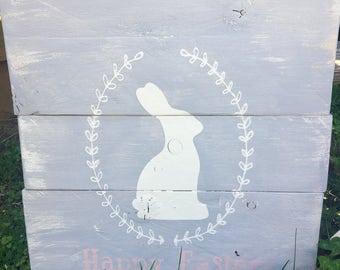 Happy Easter Bunny grey rustic wood sign