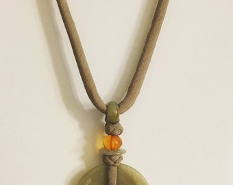 Jade and Amber Pendant