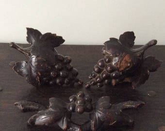 Antique Carved Appliqué / Wooden Ornaments / Furniture Decor / Wall Accent pieces / Grapes / Leaves / Architectural