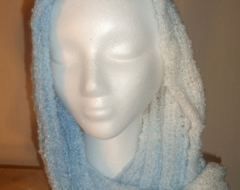 Blue and White Knitted Variegated scarf