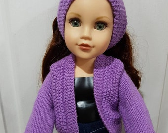 Jacket and Headband (Moss Stitch) - Journey Girl Doll