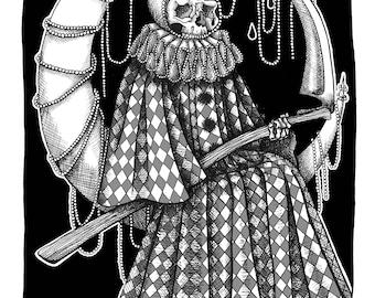 Decorated Dark Art Clown Grim Reaper on Moon Macabre Skull Skeleton A3 print