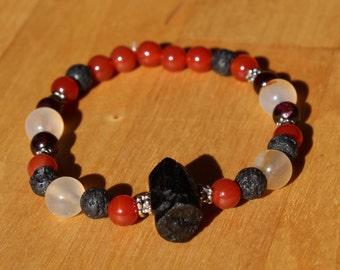 Bracelet Dragon embers - black tourmaline/schorl, Carnelian, Garnet and lava