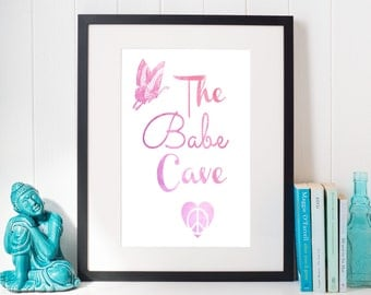The Babe Cave, Babe Cave, Babe Cave Sign, Bohemian Bedroom, Bohemian Wall Art, Pink Girls Room Sign, Cute Girls Room Sign, Girls Clubhouse