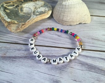 HAKUNA MATATA Bracelet - Inspirational Bracelet - Inspirational Jewellery -  Hakuna Matata Jewellery - Glass Seed Bead Bracelet - No Worries