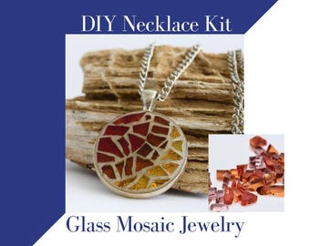 Jewelry Making Kit Glass Mosaic Necklace Activity, Fall Colors Complete kit to make one necklace,  Vibrant Clear Autumn Colors DIY Craft Kit