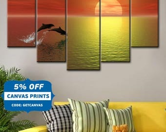 Dolphins canvas, Nature wall art, Sea Bedroom Wall Art, Sunset wall art, Dolphin in the Sunset Canvas Print Art, Dolphins 5 Panel canvas