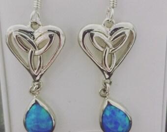 celtic silver synthetic earrings