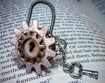 Wooden Lock and Key Ring , Steampunk Ring , Lock Jewelry , Wood Ring , Gear Ring , Lock and Key Ring , Size 7 , Lock Ring , Wood Jewelry