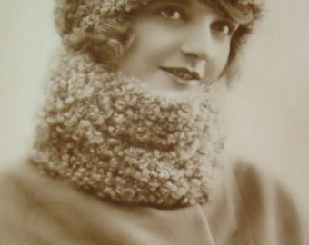 Vintage Pretty Lady Wearing Wool Hat and Scarf