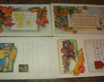SALE 4 Thanksgiving Postcards