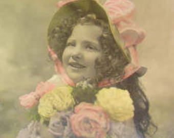 SALE Vintage Hand Tinted RPPC of Pretty Girl