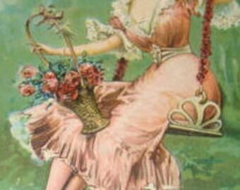 Vintage Pretty Lady Postcard