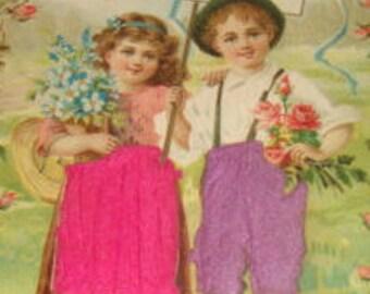 Vintage Embossed Silk Postcard (Children)
