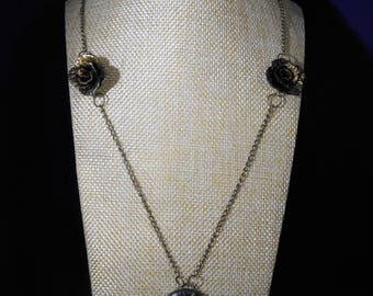 Bronze rose cameo necklace, antique jewelry, cameo necklace
