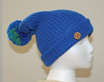Blue pom pom hat, wool hat, knitted hat, unique, handmade hats, custom hat, knit toque, woolen hats, Canada, winter hats, wearable art